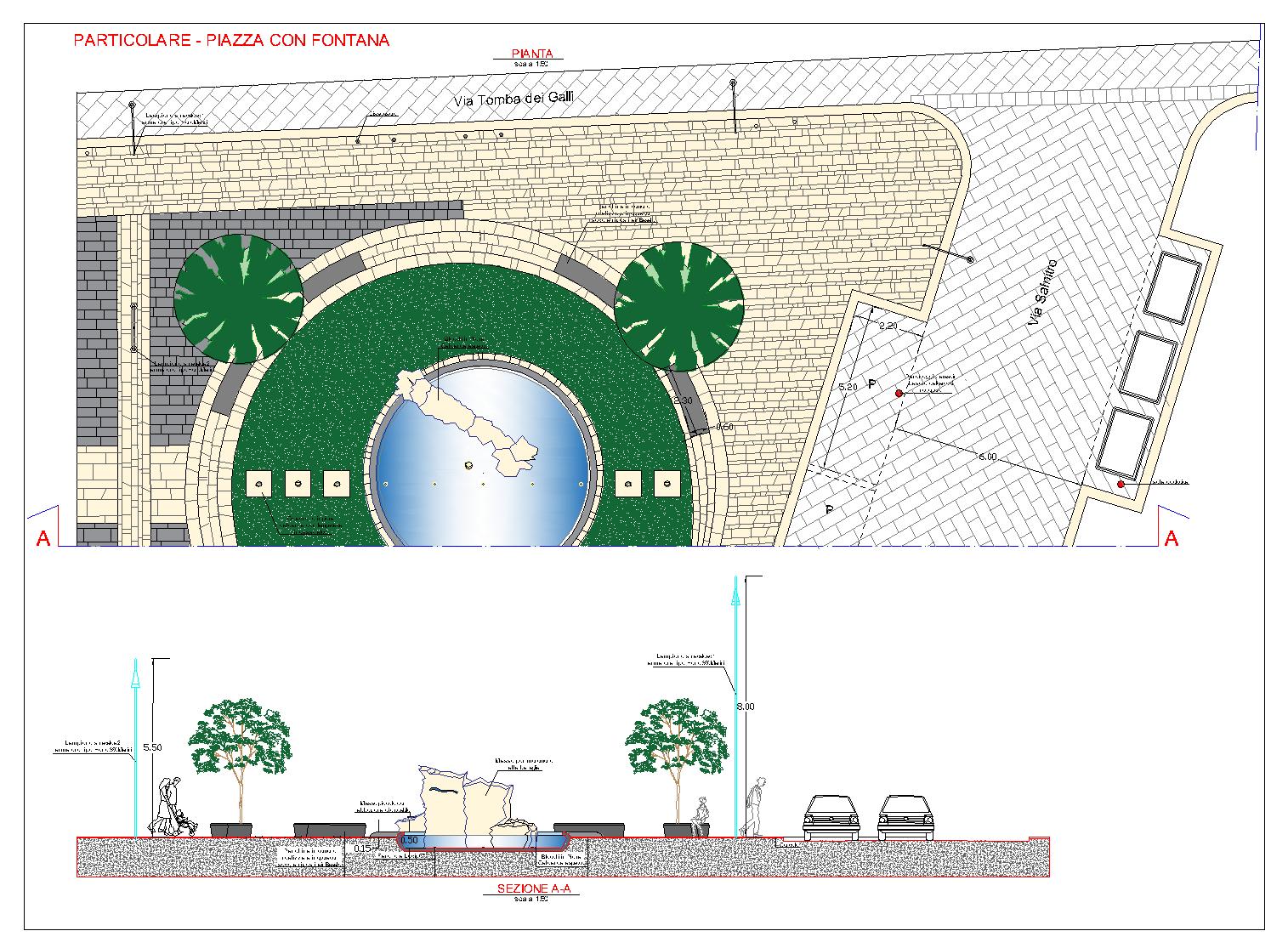 Tav. Part.Piazza con fontana Ex Cabina Enel-Model